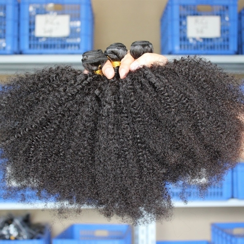 Natural Color Afro Kinky Curly Peruvian Human Hair Weave 3pcs Bundles