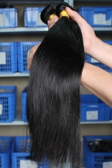 Natural Color Silk Straight Malaysian Human Hair Weave 3 Bundle Deals