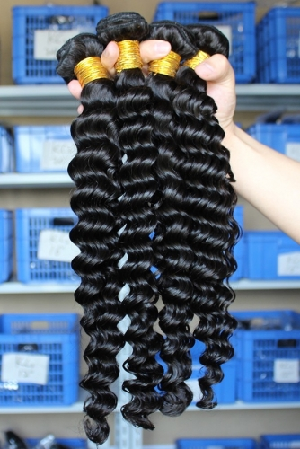 Malaysian Human Hair Extensions Deep Wave Hair Wave 4 Bundles Natural Color