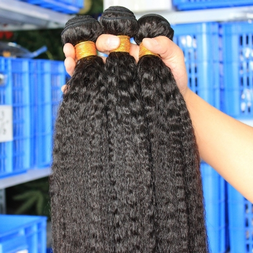 Natural Color Peruvian Human Hair Kinky Straight Hair Weave 3 Bundles