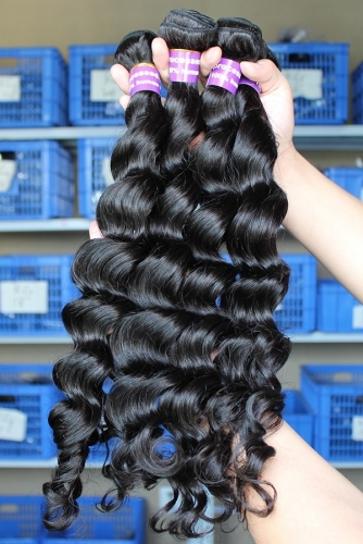 Discount Loose Wave Human Hair Indian Remy Human Hair Extensions 4 Bundles Natural Color