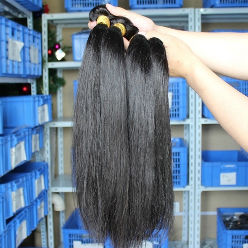 Best Natural Color Silky Straight Indian Remy Human Hair Extensions Weaves 4 Bundles