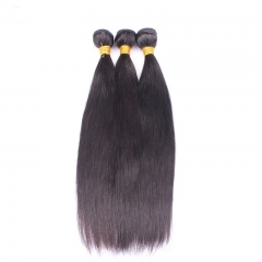 Natural Color Silk Straight Brazilian Human Hair Extensions Weave 3 Bundles