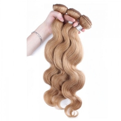 Best Website To Buy Bundle Hair Color #27 Honey Brown Body Wave Brazilian Virgin Hair Weave 3pcs Buddles
