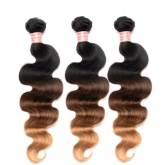 Affordable Body Wave 1B/4/27 Ombre Color Brazilian Human Hair Weave 4 Bundles