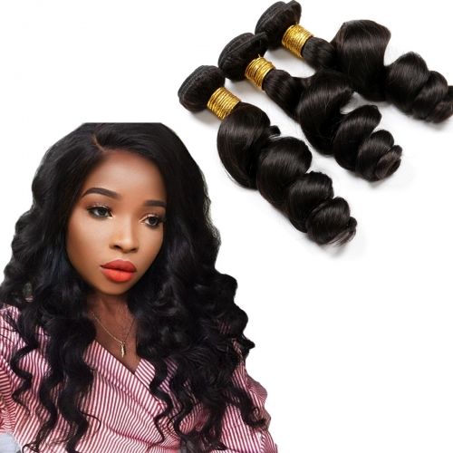 8A Remy Hair Bouncy Curl Cheap Unprocessed Hair 3 Bundles Loose Wave Peruvian Remy Hair Weave 3 Pc Lot