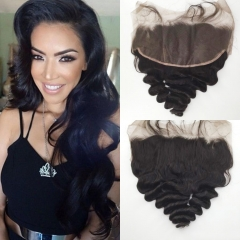 Ear To Ear Peruvian Lace Frontal Closure With Baby Hair 13X6 Loose Wave Natural Color Density 130%