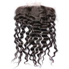 Brazilian Virgin Hair Loose Deep Wave Natural Color Closure Swiss Lace 13x6 Pre Plucked Hair Line Lace Frontal