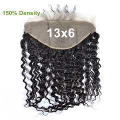 150% Density Lace Frontal 13x6 Deep Wave Brazilian Virgin Human Hair Ear To Ear Bleached knots Pre Plucked With Baby Hair