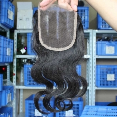 Mongolian Virgin Hair Body Wave Middle Part Lace Closure Piece 4x4 inchs Natural Color