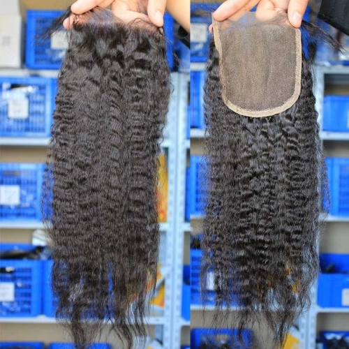 Best Lace Closures To Buy Natural Color Kinky Straight European Remy Hair Free Part Lace Closure 4x4 inchs