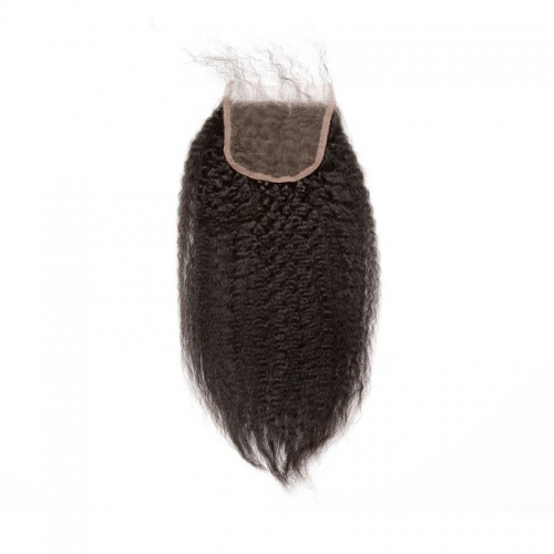 Buy Lace Closure Online Natural Color Kinky Straight Brazilian Remy Hair Free Part Lace Closure 4x4inches