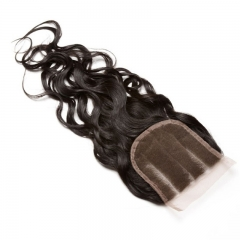 Brazalian Virgin Hair Closure Piece Water Wet Wave Free Part Lace Closure 4x4 inchs Natiral Color