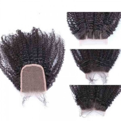 Best Human Hair Closures Malaysian Virgin Hair Afro Kinky Curly Three Part Lace Closure 4x4inches Natural Color