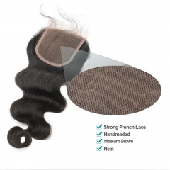 Three Part Lace Closure Piece 4x4inches Body Wave Brazilian Virgin Hair Natural Color