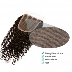 Natural Color 3B 3C Kinky Curly Lace Top Closure Hair Piece Brazilian Virgin Hair Lace Top Closures 4x4inches