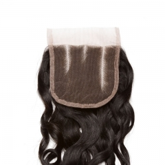 Cheap Lace Closures For Sale Indian Remy Hair Water Wet Wave Three Part Lace Closure 4x4 inchs Natural Color