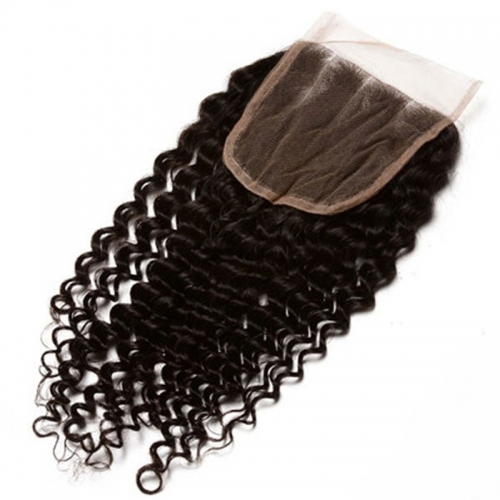 The Best Hair Closures European Remy Hair Kinky Curly Three Part Lace Closure 4x4 inchs Natural Color