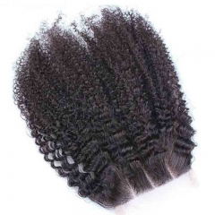 Buy Human Hair Closure Indian Virgin Hair Afro Kinky Curly Free Part Lace Closure 4x4 inchs Natural Color