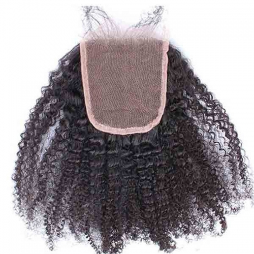 Buy Hair Closure European Remy Hair Afro Kinky Curly Three Part Lace Closure 4X4 inchs Natural Color