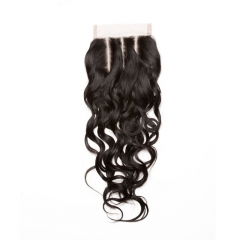 Mongolian Virgin Hair Wet Water Wave Three Part Lace Closure Piece 4x4 inchs Natural Color