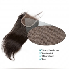 Affordable Peruvian Virgin Silk Straight Three Part Lace Closure 4x4 inchs Natural Color