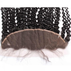 Kinky Curly Peruvian Virgin Human Hair Ear To Ear Lace Frontal Closure Hairstyles 13x4inchs Natural color For Sale
