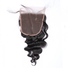 5x5 Lace Closure With Baby Hair Loose Wave Brazilian Remy Hair 100% Human Hair Bleached Knots Closure