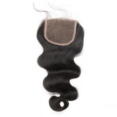 4x4 Lace Closure With Baby Hair Free Part Body Wave Brazilian Remy Hair Bleached Knots