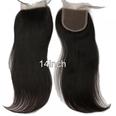 Malaysian Virgin Hair 4x4inch Straight Closure with Baby Hair and Bleached Knots 18inch Straight Natural Black