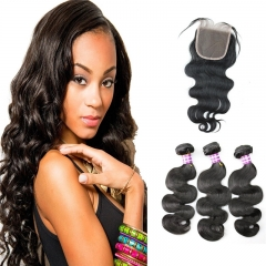 Hair Free Part 1pc 4x4 Lace Closure with Virgin Brazilian Human Hair 3 Bundles Weaves Body Wave Natural Color