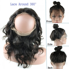 360 Full Lace Frontal Cheap Brazilian Virgin Human Hair 360 Lace Band Frontal Closure Back Body Wave with Natural Hairline Baby Hair for Blac
