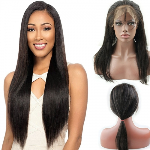 360 Full Lace Frontal Closure Silky Straight 360 Lace Band Frontal with Adjustable Straps Brazilian Human Hair with Natural Hairline Natural Color (14