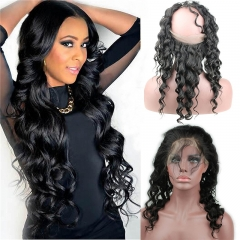 360 Lace Band Frontal Closure Loose Wavy Virgin Human Hair Lace Frontal with Natural Hairline Natural Color for Black Women (18inch)