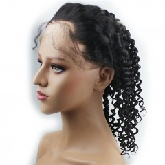360 Lace Band Frontal Closure Curly 360 Full Lace Frontal with Adjustable Straps Remy Brazilian Human Hair with Baby Hair Natural Hairline Natural Col