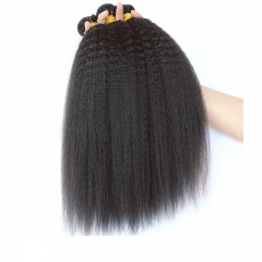 Kinky Straight Brazilian Virgin Hair Honey Products Human Hair Weave Bundles Natural Color Coarse Yaki Hair Weaving