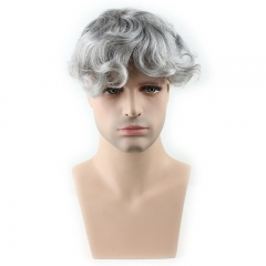 Pure Human Hair Men's Toupee Hairpiece Thin Skin Base Dark Ash Blonde
