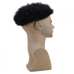 Human Hair Afro Curly Mens Toupee Hairpiece Wig Base with Hard PU Reforced Color #1B Off Black