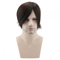 Medium Long Men's Hairpiece Toupee Wig Human Hair Thin Skin Hair Replacement 130% Density Mono Base 6 Inch x8 Inch ( #3 Darker Brown )