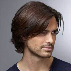 7 Inches Men's Hairpiece Human Hair Toupee Wig Super Thin Skin Hair Replacement 130% Density Mono Base 6x8 ( #3 Darker Brown )
