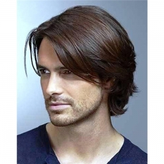 Pure Human Hair Men's Toupee Size 8x6inch #3 Monofilament Net Base Thin Skin Around Dark Brown Color