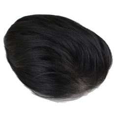 Men's Toupee Hairpiece Real Human Hair Straight Replacement Thin Skin Base Wigs with Combs for Men (Natural Black)(¨7.9 x 9.1 inches)