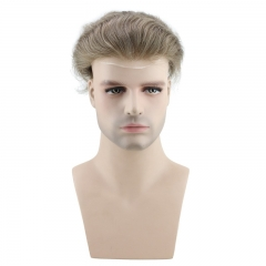 Men's Wig 100% Human Hair Hairpiece Toupee Super Thin Skin Hair Replacement (#7 Light Ash Brown)