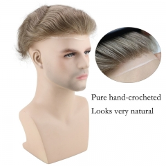 Men's Wig Human Hair Hairpiece Toupee Super Thin Skin Hair Replacement (#7 Light Ash Brown)