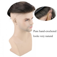 Men's Hairpiece Human Hair Toupee Wig Super Thin Skin Hair Replacement Base Size 8x10 #4 Dark Brown