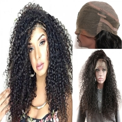 360 Lace Frontal Wig Jerry Curly Full Lace Human Hair Wigs Extra High Density 360 Lace Wig Lace Front Human Hair Wigs for Black Women Natural Color 24
