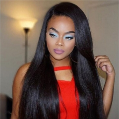 360 Lace Wigs 180% Density Silk Straight Brazilian Virgin Hair 360 Lace Front Human Hair Wigs for Black Women Pre Plucked 360 Lace Frontal Wig with Ba