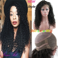 360 Lace Wig 2017 New Style 130% 150% 180% High Density 10A Brazilian Human Hair Jerry Curly Free Part Wig with Baby Hair for Women