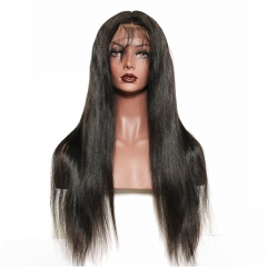 300% Density Lace Front Human Hair Wigs Silk Straight Brazilian Virgin Remy Human Hair Wigs Glueless Lace Front Wig for Women Natural Black Color 20