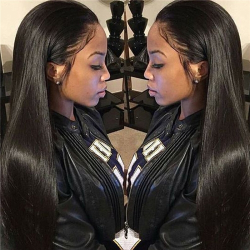300% Density Lace Front Human Hair Wigs Silk Straight Brazilian Remy Human Hair Wigs Glueless Lace Front Wig for Women Natural Black Color